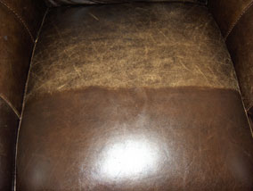 Leather half restored using Leather Balm