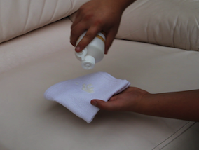 Applying Leather Protection Cream